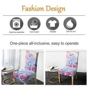 Image 3 - BeddingOutlet Unicorn sandalye kapakları gül karikatür Spandex elastik Slipcover pembe çiçek koltuk kılıfı dekor için düğün ziyafet 1 adet