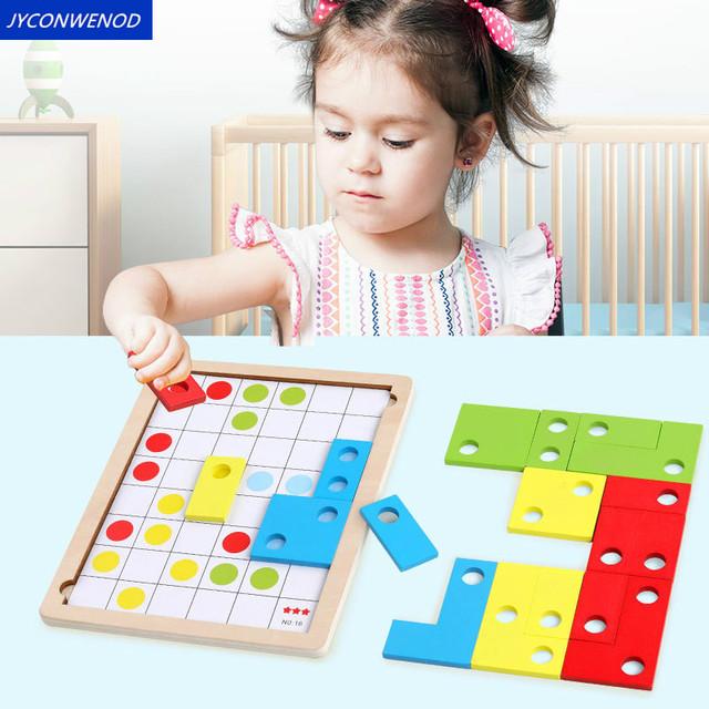 Logiczne myślenie gra szkoleniowa dopasowane kolory drewniane zabawki puzzle tetris gra wczesne zabawki edukacyjne dla dzieci tanie i dobre opinie Unisex JYC265-32 Tangram układanki zarządu 3 lat Drewna