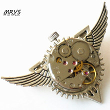 steampunk gothic punk rock wings Deathly Hallows watch parts collar brooch pins badge women men boy vintage handmade diy jewelry