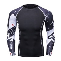 Muscle Man Compression Tight Skin Shirt With Long Sleeves 3 D Printing MMA Rashguard Fitness Base