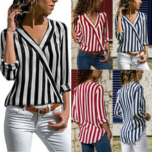Women Fashion Striped Blouse Ladies Casual Summer Loose Cotton Tops V-Neck Short Sleeve Shirt Blouse Femme Shirt все цены