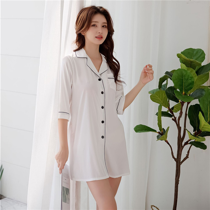 Elegant White Female   Nightgown     Sleepshirt   Summer New Half Sleeve Intimate Lingerie Casual Sleepwear Bathrobe Nightshirt Negligee