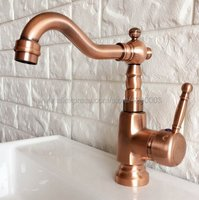 Antique Red Copper Deck Mount Bathroom Faucet Vanity Vessel Sinks Mixer Tap Cold And Hot Water Tap Knf395