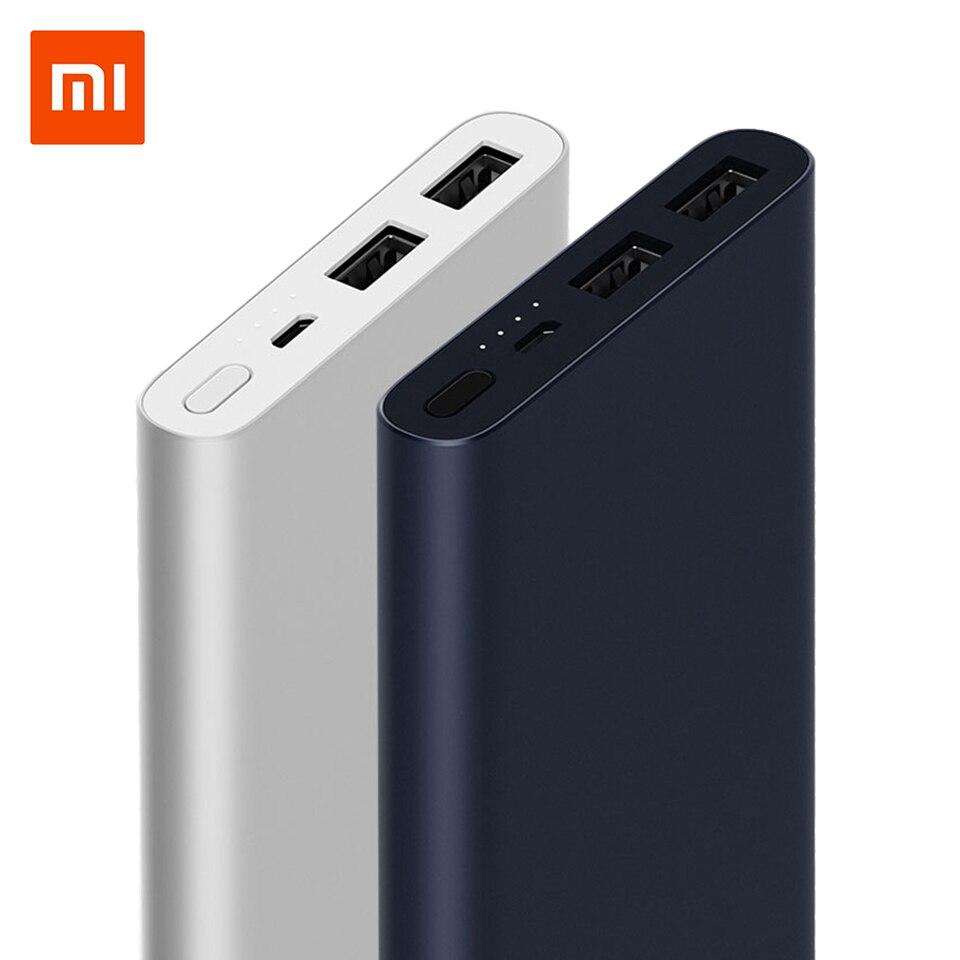 Original 10000 mAh Xiaomi Power Bank 2 Quick Charge Powerbank Dual-USB portátil de aluminio de carga rápida Mi Power batería externa