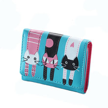 цены Botusi Cartoon Cat Women Wallet Short Purses Female PU Leather Card Holder Coin Money Bag Dollar Price Ladies Wallet Small