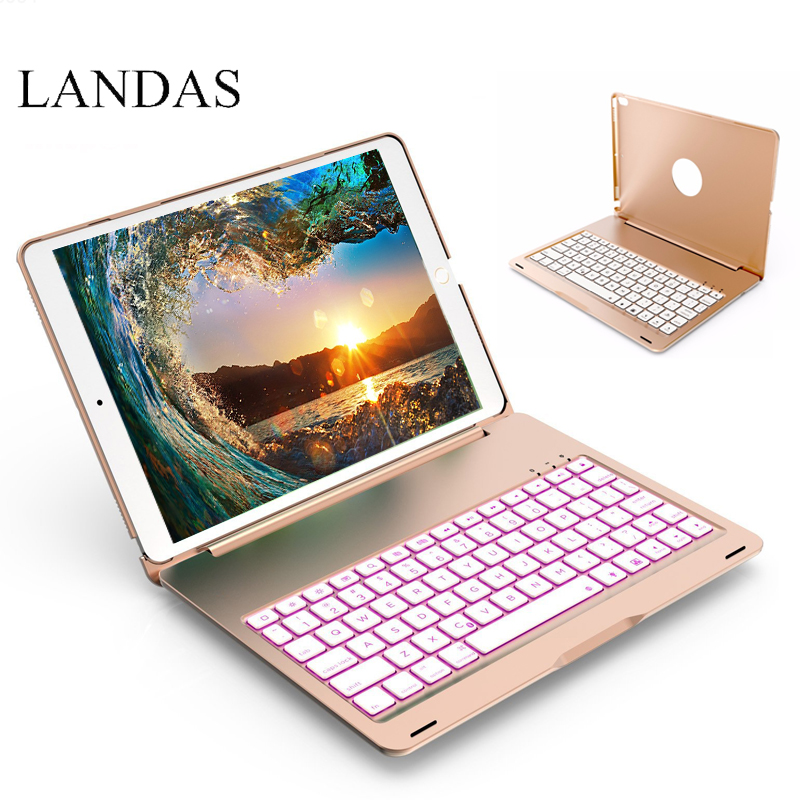 Landas 7 Colors Backlit Bluetooth Keyboard Case For New iPad 9.7 2017 A1822 A1823 Smart Case Keyboard For iPad 9.7 2017+ Gift new us backlit keyboard for asus rog strix s5vt s7vm s5vm s5vs s7vt s5vy backlit laptop keyboard 1