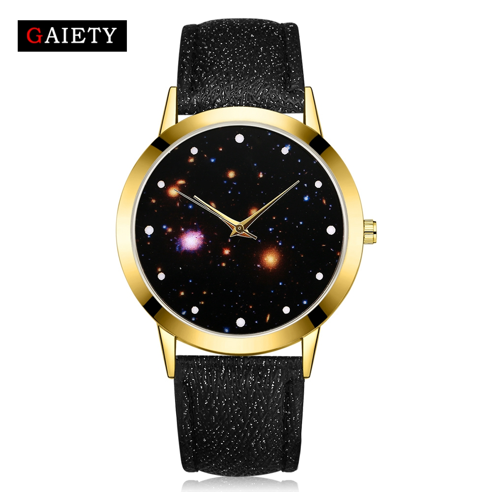 women men unisex leather belts dress quartz watch casual ladies girls starry night galaxy design big dial watches reloj dama