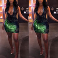 Ladies Sexy Halter Club Party Dresses 2017 Mini Backless Off Shoulder Women Sequin Dress Elegant Woman Wrap Bodycon Dress