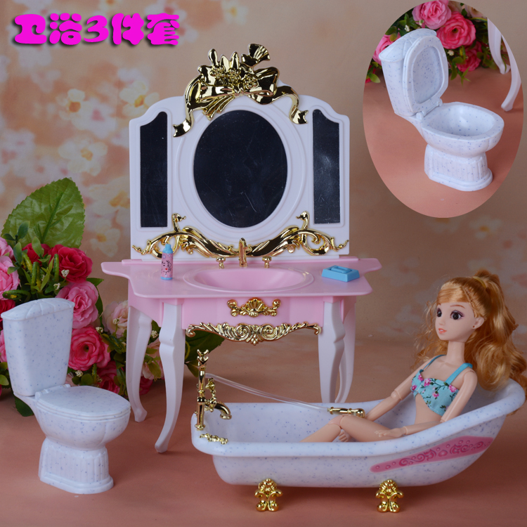 Furniture Play Set Dresser + Toilet + Bath Suite For Barbie Doll 1/6 House Best Gift Toys For Girl