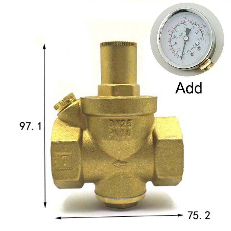 Dn25 1 bspp Weibliche Messing Druck Relief Vavle Sicherheit Einstellbare Big-körper Breite 75,2mm Max 16bar Mit Manometer Sanitär Ventil