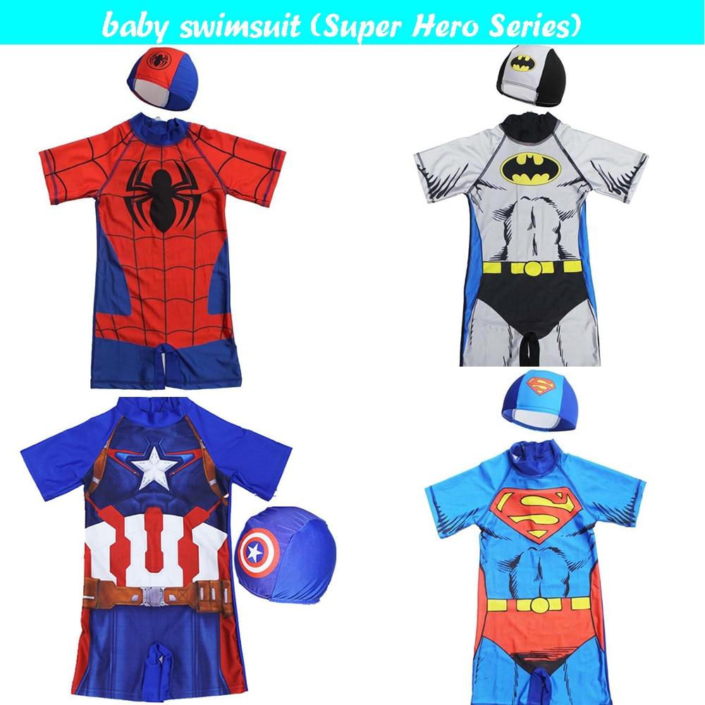 Boys One Piece SwimSuit Sun Safe Super Hero Character Swim Wear UV New