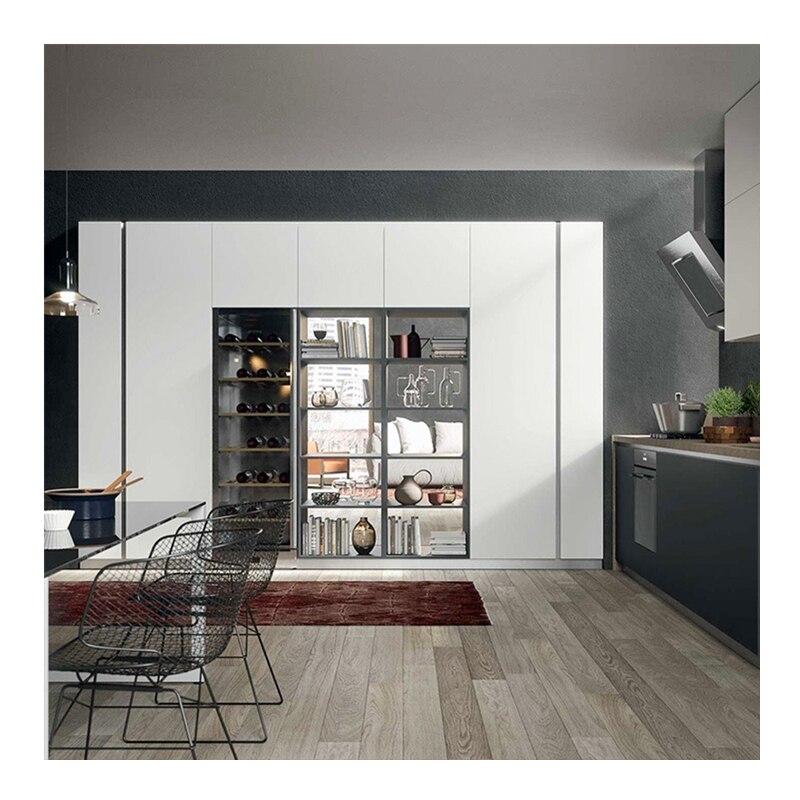 Free Custom Design Modern Kitchen Unit Kitchen Furniture White PVC Membrance Kitchen Cabinets Benchtop