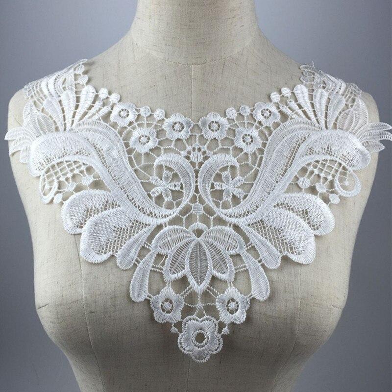 ⑦33X22 cm Blanco/Negro Floral encaje Collar de tela Trim DIY ...