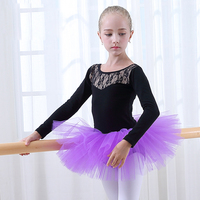 Winter Long Sleeve Bellet Skirt Kids Children Professional Ballet Tutu Toddler Leotards Stage Ballet Dancing Dress