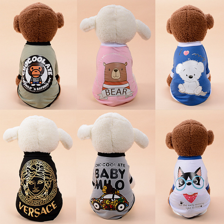 Spring New Pet Tide Brand New Short Sleeve Sweatshirt Teddy Chihuahua T-shirt Biped French Bulldog Small and Medium-sized Dogs