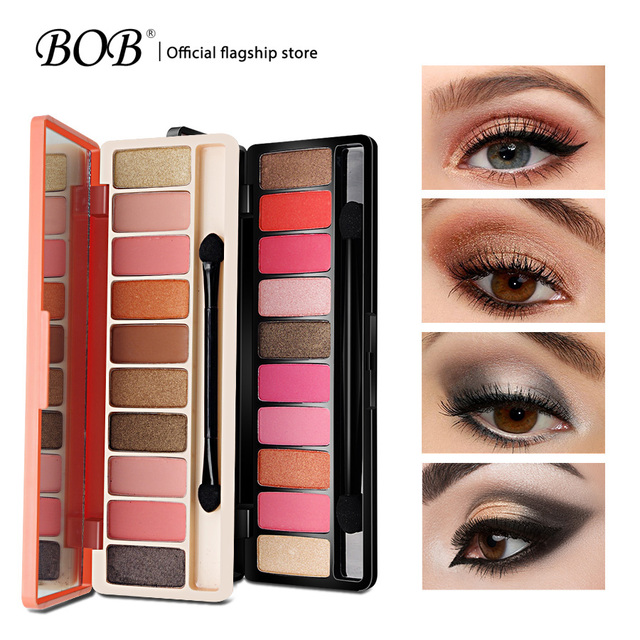 BOB marca sombra de ojos paleta sombra de ojos juego de maquillaje Mattle purpurina maquillaje profesional sombra de ojos Nude brillo