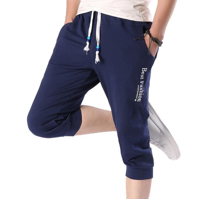 Top Fashion Summer Capri Pants Men Casual Slim Fit Fashion Letter Drawstring Waist Leisure Pants Men 2017 Plus Size (Asian Size)