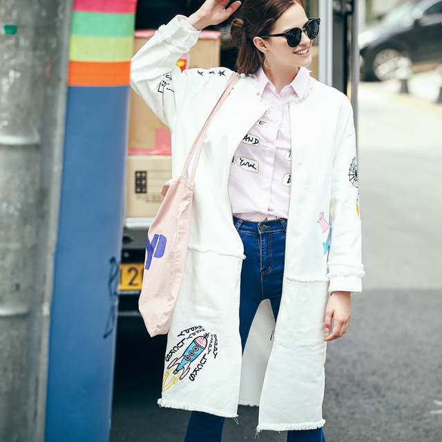 [XITAO] NEW autumn long wide-waist loose form O-neck open stitch single breasted full sleeve print character trench MFB-47