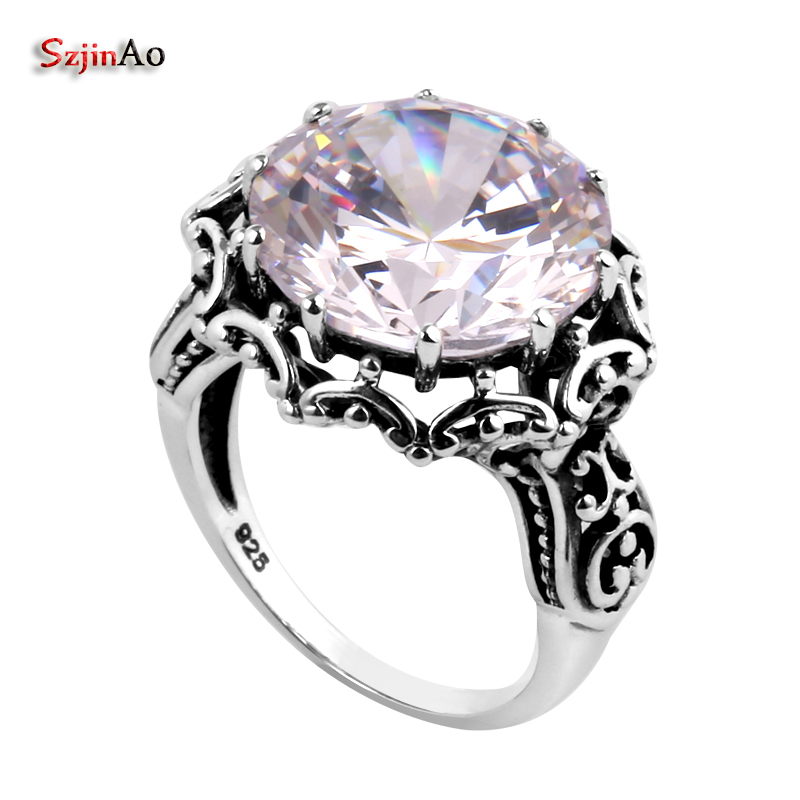 Szjinao Wholesale Flowers Antique Reproduction Cubic Created Zirconia 925 Sterling Silver Rings for Women