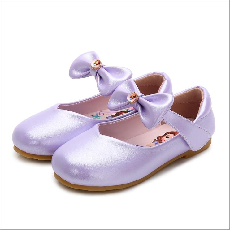 New Girls Princess Shoes Sofia Leather Girls Kids Shoes for Dance Party Princess Girl Single Sneakers Size 23-36