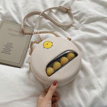 Pequeña bolsa femenina 2019 nueva edición han moda chica encantadora verano joker solo bolso de hombro usado pequeño paquete redondo