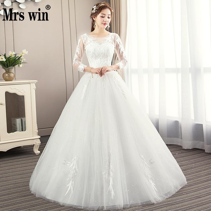 Hot Sale Lace Flowers Ball Gown Wedding Dresses 2018 New Long Sleeve Muslim Lace Appliques Wedding Gowns Bridal Dress F