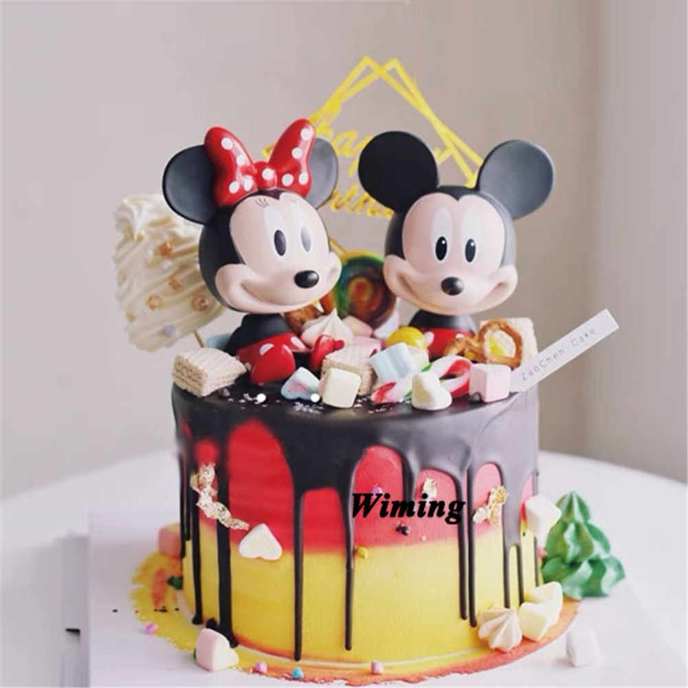 cake topper birthday girl mickey toy return gifts for kids birthday party cake decorating mickey party decoration cupcake topper