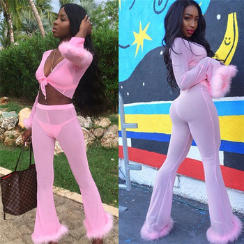 Mesh See Through Tracksuit 4 Piece Set Women Halter Bra Sexy Panty Long Sleeve Crop Top Flare Pants Lady Sweatsuit Matching Sets
