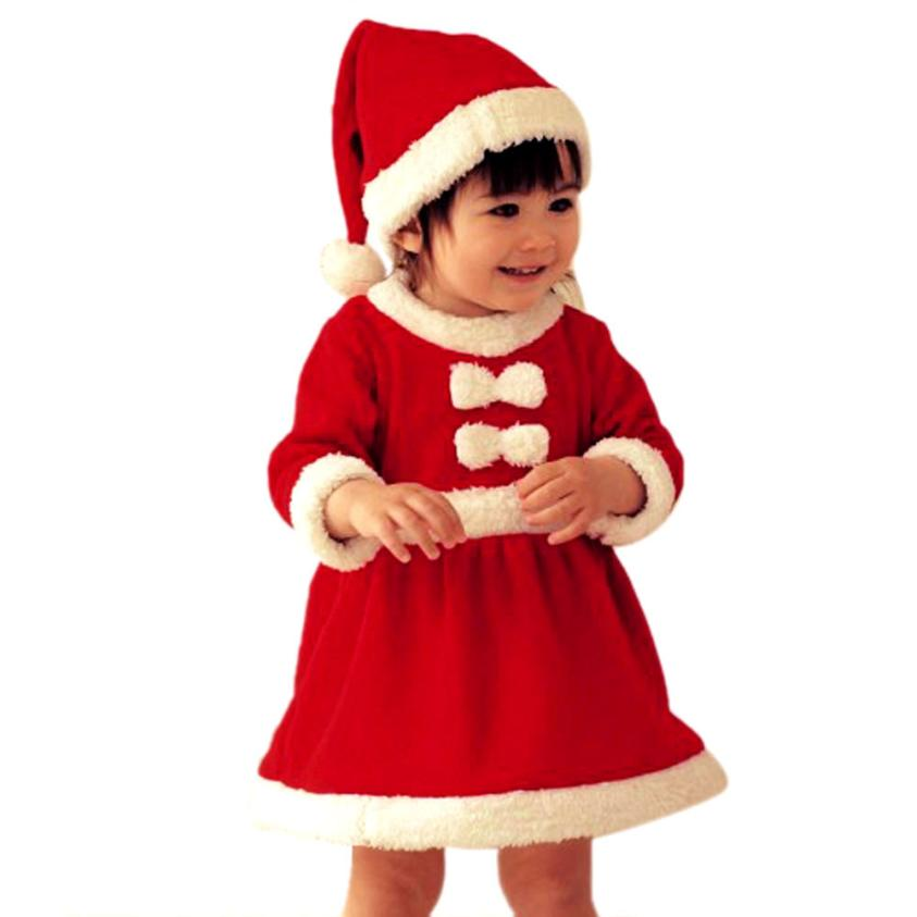 children clothing manufacturers china 1 Set Girls Kids Baby Infant Santa Claus Christmas Hats and Dress child garment Krystal