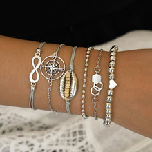 New 6 Pcs/Set Vintage Multilayer Rope Bracelets Bohemian Shell Compass Hexagon Heart Infinity Bead Bracelet Set For Women