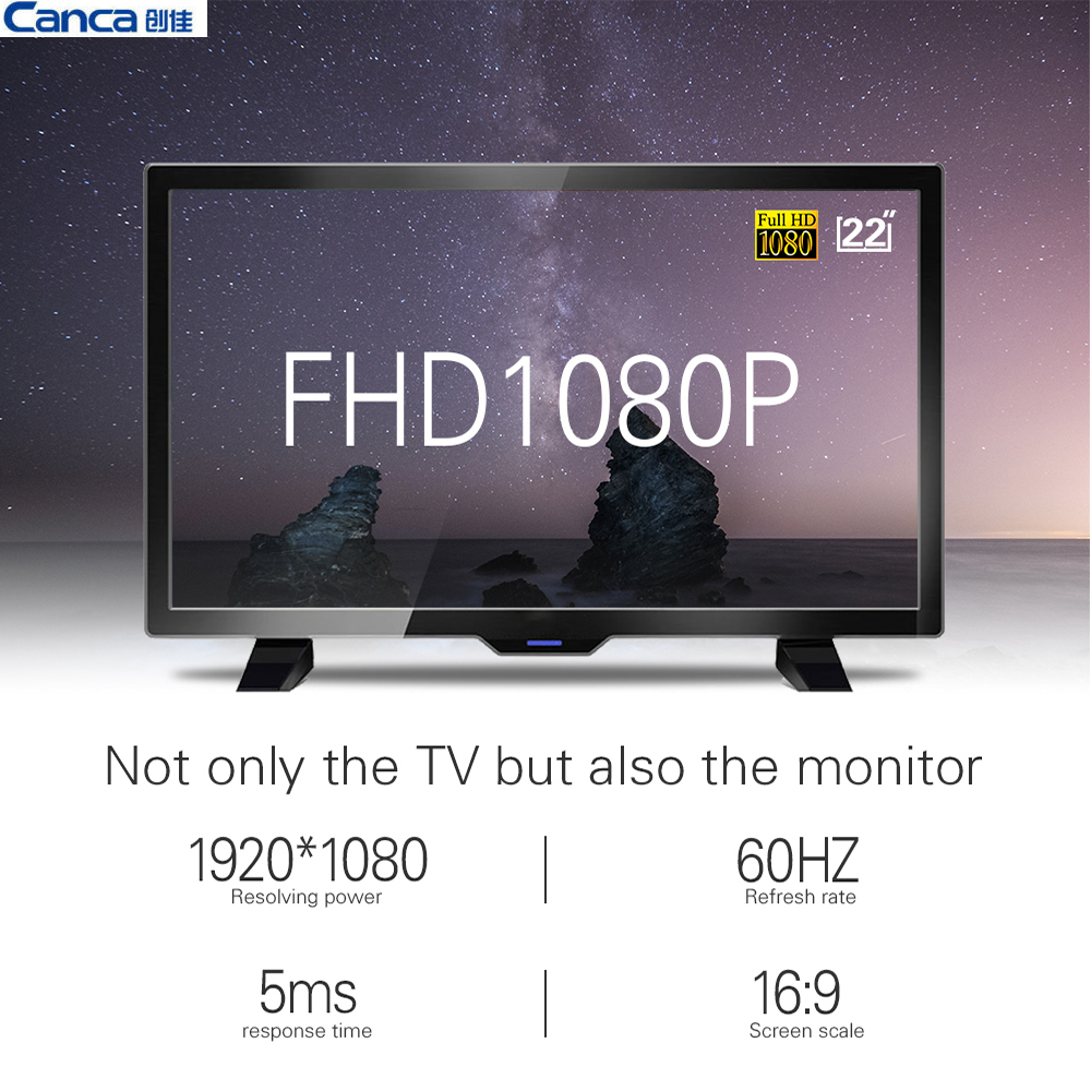 The Cheapest Canca 22inch Full HD 1080P LED Flat Panel TV Energy Saving Eyecare Elegant