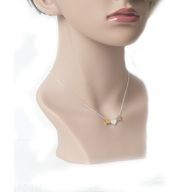 brixini.com - Bohemia Tripple Hearts Charm Pendant Necklace