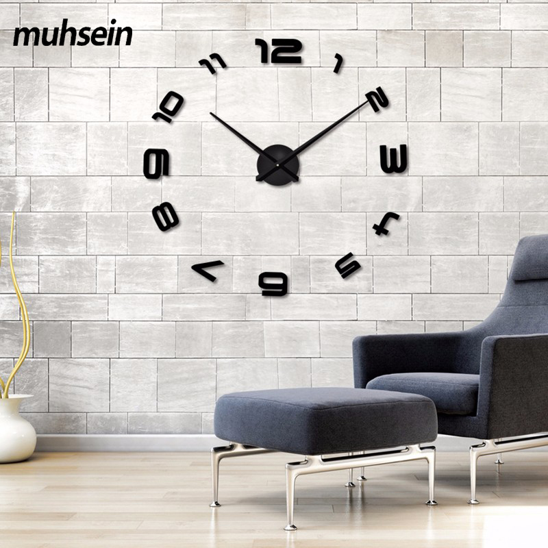 2017 New High Quality 3D Wall Stickers Creative Fashion Living Room Clocks  Large Wall Clock DIY