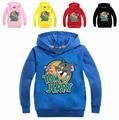 Suéteres de Las Muchachas 2-8Years Niñas Traje de Tom y Jerry Niños Suéter de Invierno Jersey Sudadera Con Capucha Chicos Adolescentes Chaquetas MS1794