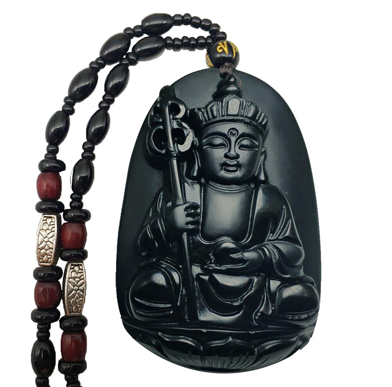 Koraba Fine Jewelry Clin-kk Pure Natural Obsidian Tibet Buddhism Jizo King Di Zang Buddha Necklace Pendant Free Shipping