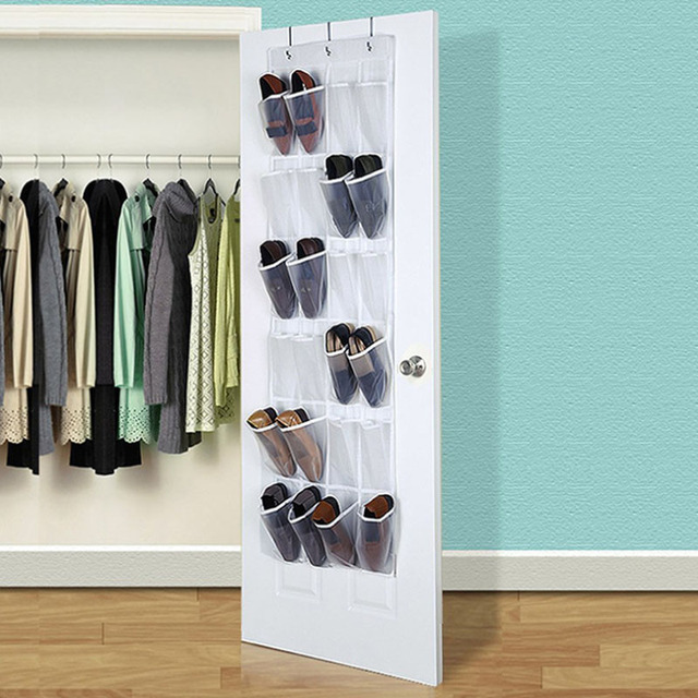 24 Pocket Clear Hanging Shoe Organizer Bathroom Holder Storage Base Living Room Rack Hanger Sorting