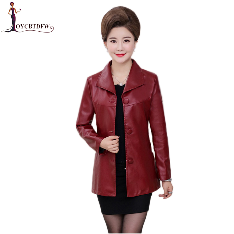 Large Size 2018 Women Washed   Leather   Jacket Winter Autumn Women Coat Single-breasted Fashion 5xl Female Pu   Leather   Jacket No367