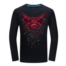 BB 01-02  Mens 3D T-shirtHot  Autumn Roses Printed T-shirts Men Cotton Casual Brand Clothing T shirt Long Sleeve