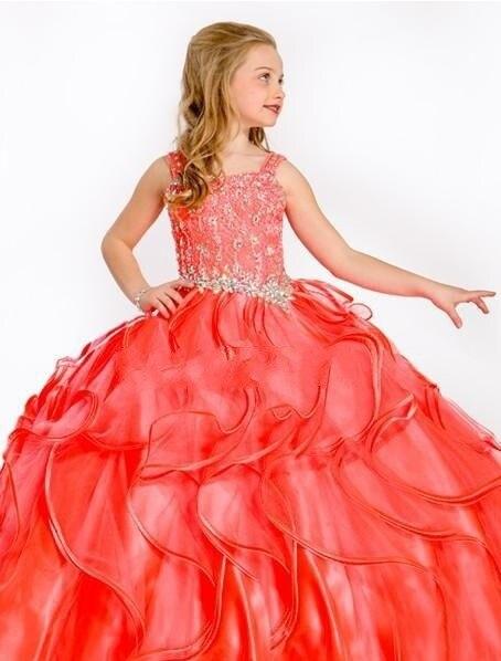 Piso Longitud Con Cuentas De Coral Organza Niños Desfile Vestidos 2017 De Alta Calidad Rojo Sin Mangas De Flores Niña Vestidos Vestidos Infantiles