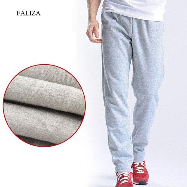 FALIZA Novo Calças dos homens Corredores Homens de Lã Calças Retas de Veludo Grosso Inverno Quente Veludo Sweatpants Corredores Homens Calça Casual CKD