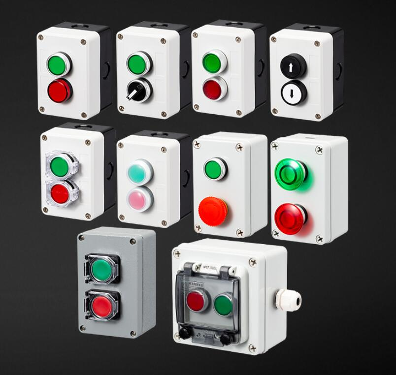 цена на Button switch control box waterproof button indicator light plastic case emergency stop reset point electric box