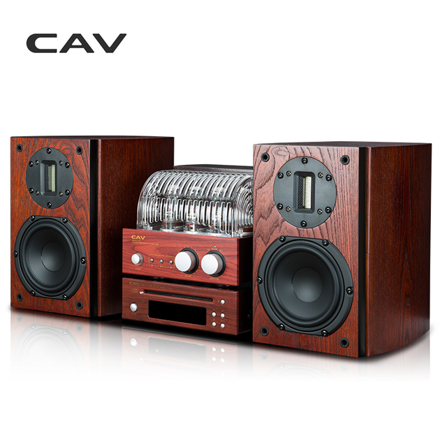 CAV T-33 HI-FI Tube Amplifier Combination High Fidelity Amplifier Wirelss Bluetooth HiFi CD Player Burlywood Audio Player System