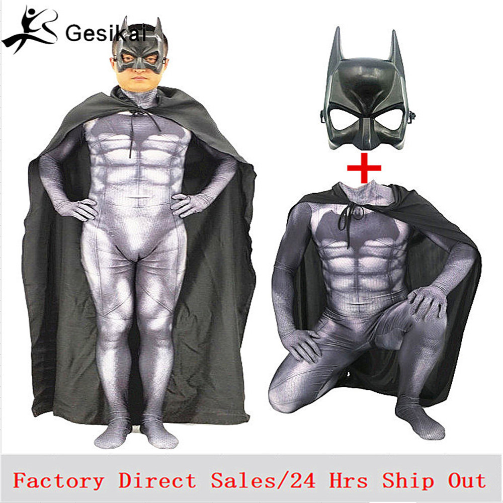 Batman Costumes with Mask Cloak Movie Character Superhero Cosplay Halloween Masquerade Party Superman Suit