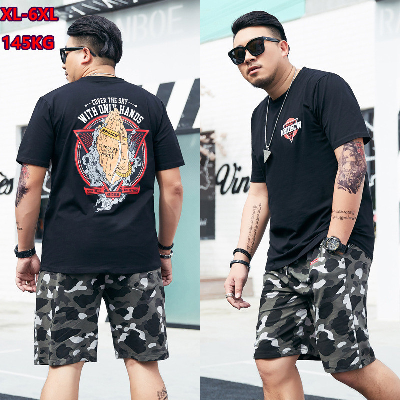 Tracksuit Men 2019 Casual Sets 140KG Black Mens 2 Two Piece Clothes Summer Plus Size 5XL 6XL Tops T Shirts Camouflage Shorts Set
