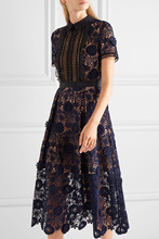 2018 New Arrival Self Portrait Runway Women Hollow Out Patchwork Sexy Lace dress Female Vestidos Short Sleeve Midi Dresses Y0905