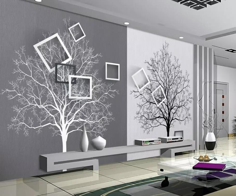 HD noir et blanc arbre simple 3D TV fond mur papier peint pour murs 3 d pour salon