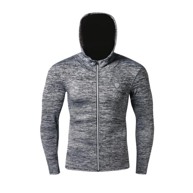 Мужская дышащая куртка для бега быстросохнущая Джерси ветрозащитная куртка со светоотражателями на молнии Светоотражающая в ночное время Спортивная с капюшоном - Цвет: H