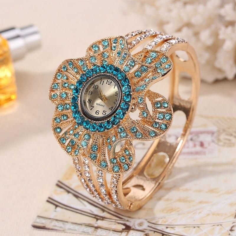 זהב צבע שעון יד נשים פרח צורת תכשיטי צמיד שעונים קריסטל גבירותיי קוורץ שעון relogio feminino ביאן kol saati