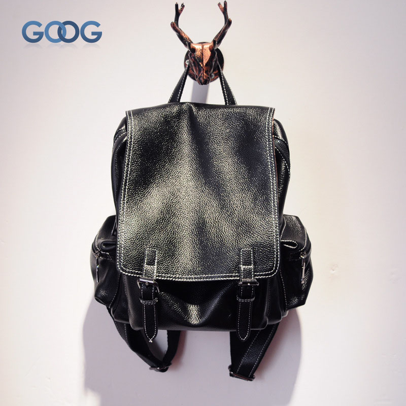 New double-sided cross-section solid color travel backpack head layer of leather clamshell fashion casual large-capacity leather original hand made retro shoulder bag new vertical section of the small backpack head layer of leather sculpture leather casual