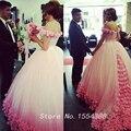 2017 Mulheres Elegantes da Luva do Tampão Longo Trem Vestidos de Noite 3D Flores Rosa Vestidos de Baile Vestido De Doce 16 Vestidos de Novia